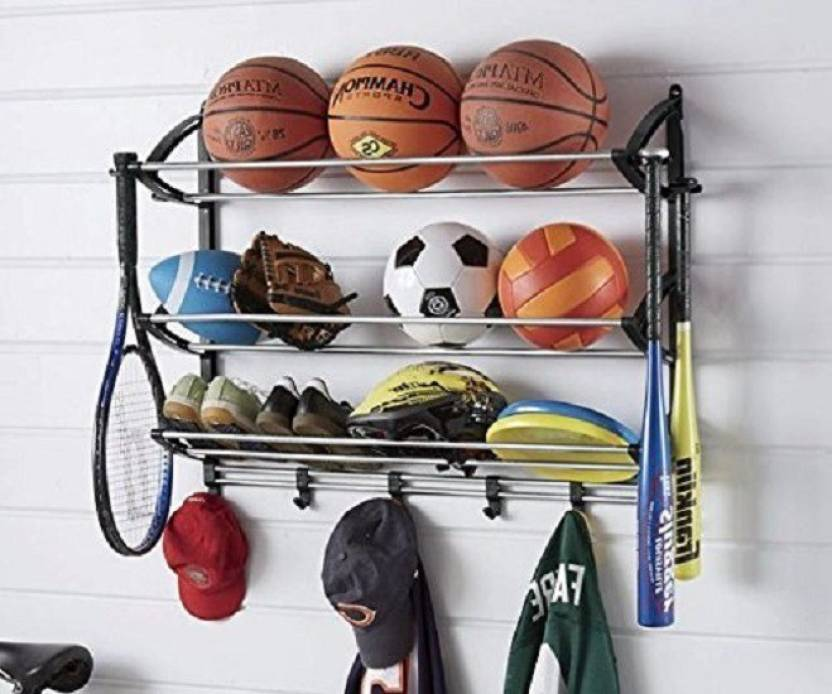 Inditradition Sports Equipment Organizer Rack Multi Gear Storage Hanging Stainless Steel Wall Shelf Number Of Shelves 3