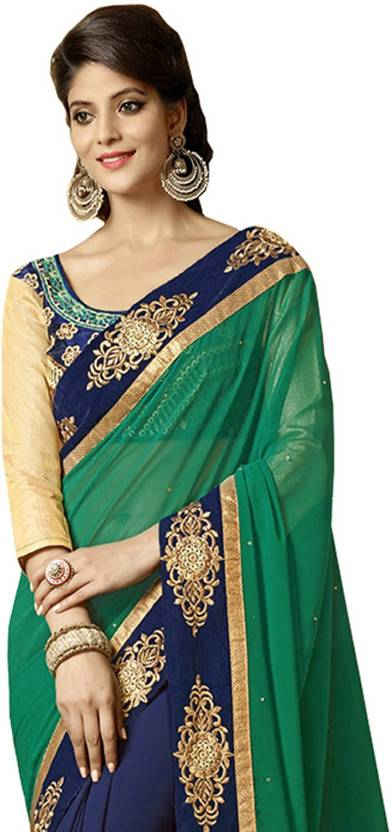7c72de1d1e IndianEfashion Embroidered, Embellished Bollywood Georgette Saree  (Multicolor)