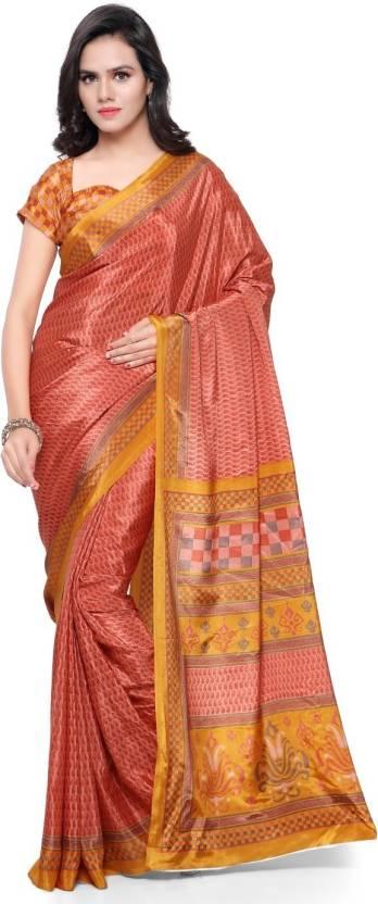 6a562d5a9c Buy Triveni Printed Fashion Crepe Orange Sarees Online @ Best Price ...