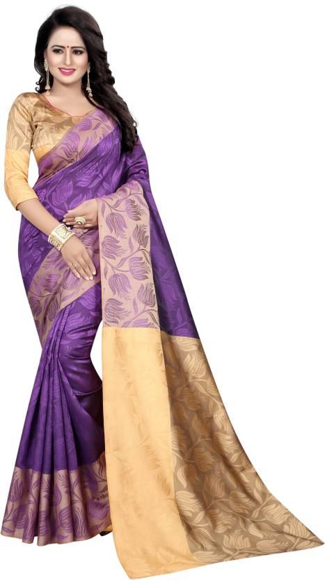 e335a17e88 Buy MANJULA SAREE Woven Banarasi Cotton Silk Purple Sarees Online ...