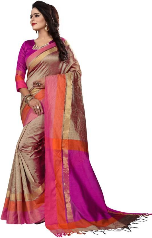 c4da02fda9 HashTag Fashion Embroidered Banarasi Poly Silk, Cotton, Cotton Silk Saree  (Multicolor)