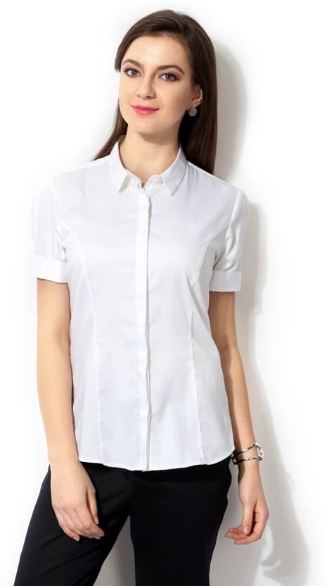 f5cbd20df35 Van Heusen Women Solid Formal White Shirt - Buy White Van Heusen Women  Solid Formal White Shirt Online at Best Prices in India