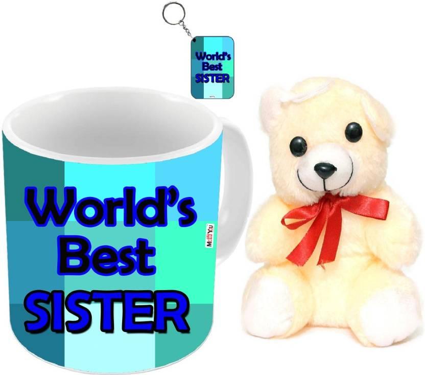 MEYOU Return Rakhi Gifts For Your Sister Birthday Anniversary IZ18DTMKCRT 316 Mug Keychain Soft Toy Gift Set Price In India