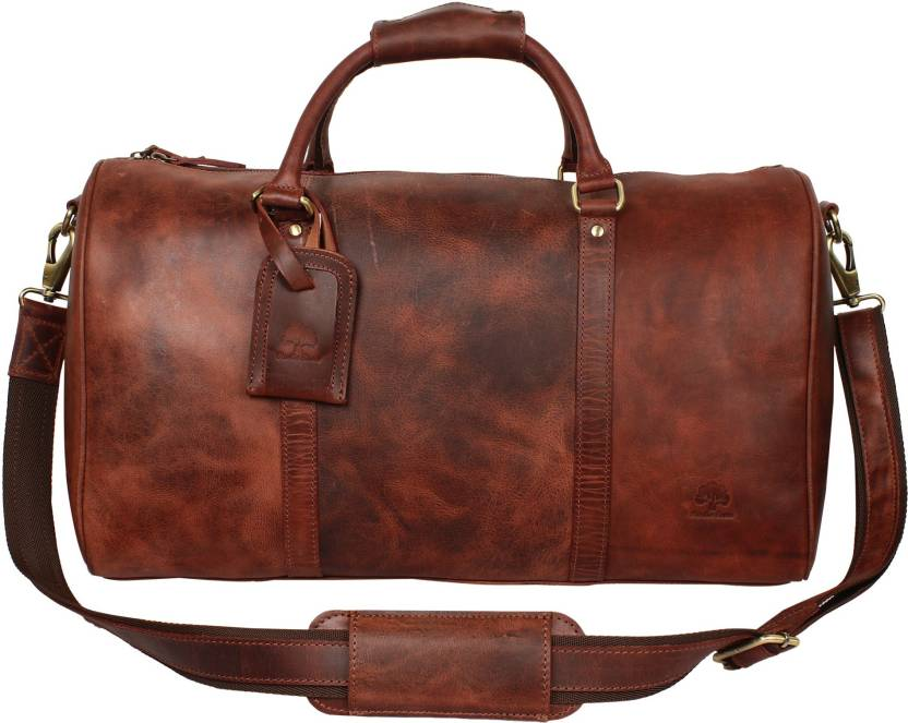 ee0ab4093426 Rustic Town 20 inch Leather Duffel Bags For Men - Airplane Underseat Carry  On Luggage Travel Duffel Bag (Brown)