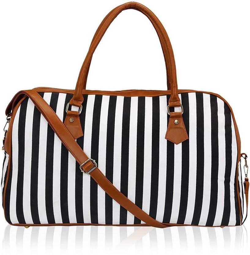 b8fa2076082f Shrih Striped Spacious Weekend Travel Duffel Bag for Women   Girls (Black) Travel  Duffel Bag (Black)