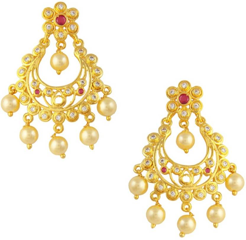 62e080107 Flipkart.com - Buy RUBANS Finely Handcrafted Gold Plated CZ Studded  Embellished With Pearls And faux Ruby Chandbali Earrings Metal Drop Earring  Online at ...