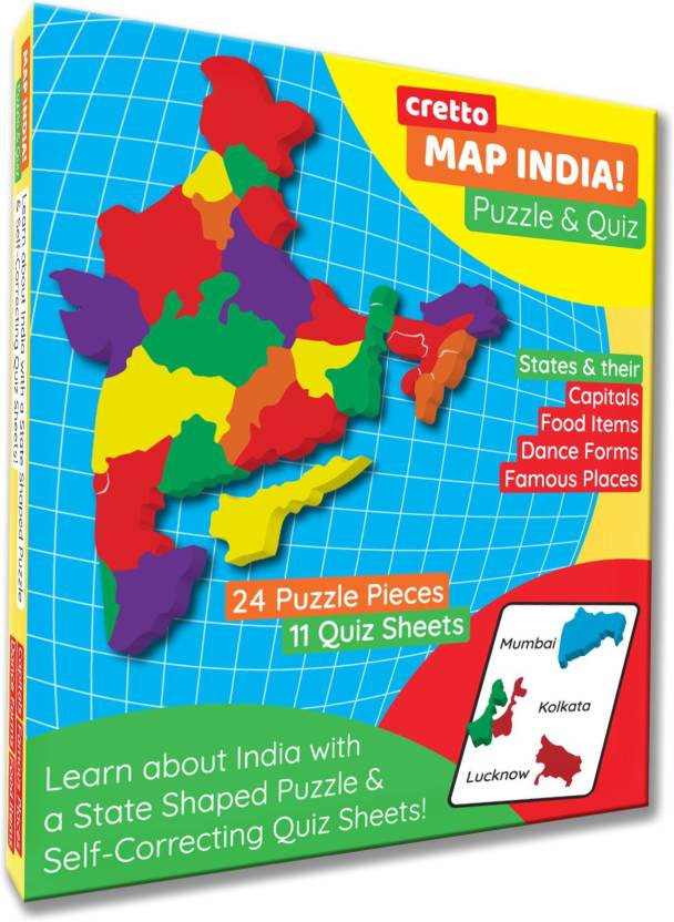 cretto Map India Puzzle with 11 self mastery interactive Quiz sheets on