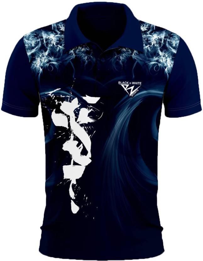 9c5501795e Black N White Sports Graphic Print Men Polo Neck Dark Blue T Shirt