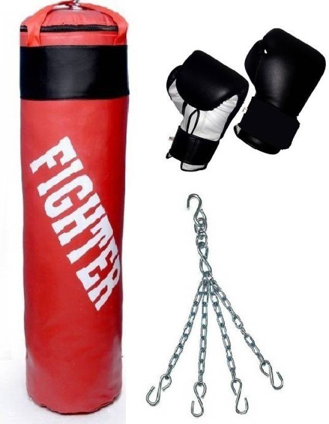 Fighter Red Punching Bag Gloves Boxing Kit