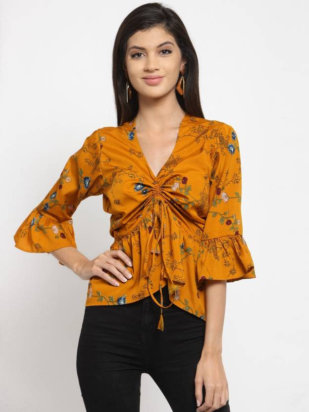 4b871e2a2e710e indietoga Party Bell Sleeve Floral Print Women s Yellow Top - Buy indietoga  Party Bell Sleeve Floral Print Women s Yellow Top Online at Best Prices in  India ...