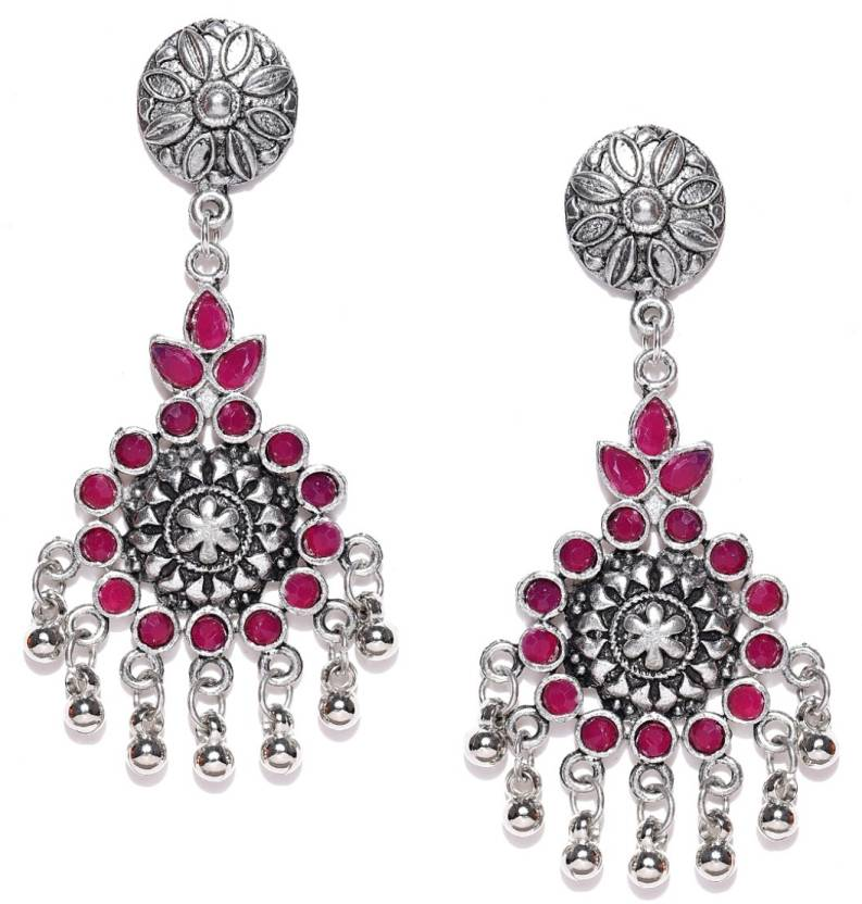 23dee3750 Flipkart.com - Buy Infuzze Infuzze Oxidised Silver-Toned & Pink  Stone-Studded Classic Drop Earrings Alloy Dangle Earring Online at Best  Prices in India