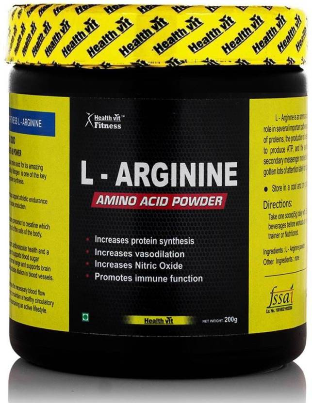 HealthVit Fitness L-Arginine Pre-workout 200gm Powder, Unflavoured BCAA