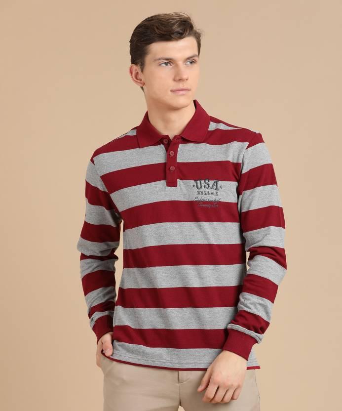823dcbc7 Jockey Striped Men's Polo Neck Red, Grey T-Shirt - Buy Deep Red & Grey  Melange Jockey Striped Men's Polo Neck Red, Grey T-Shirt Online at Best  Prices in ...