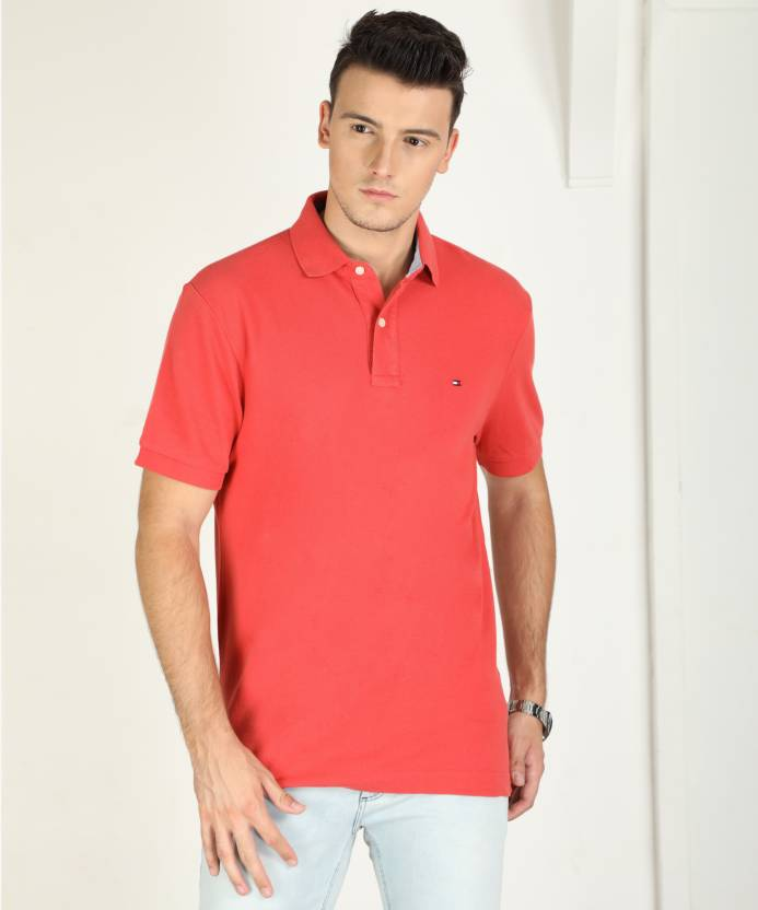 1675da493 Tommy Hilfiger Solid Men s Polo Neck Pink T-Shirt - Buy Pink Tommy Hilfiger  Solid Men s Polo Neck Pink T-Shirt Online at Best Prices in India