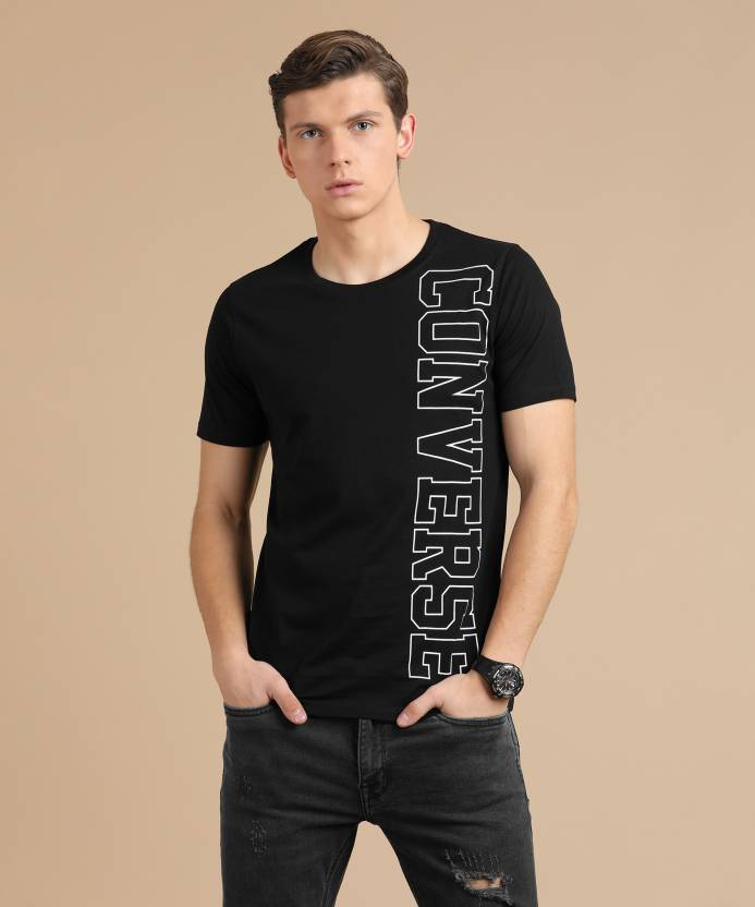 5b155b680d1f Converse Printed Men s Round Neck Black T-Shirt - Buy Black Converse  Printed Men s Round Neck Black T-Shirt Online at Best Prices in India