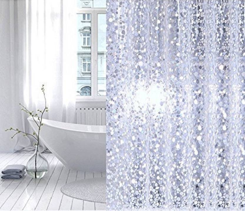 CASA Furnishing 247 Cm 8 Ft PVC Shower Curtain Pack Of 2 Solid Diamond