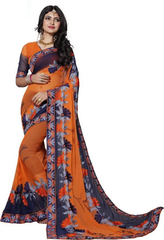 2cd8ff9813ea8 Pratham Blue Embroidered Bollywood Georgette Saree (Orange