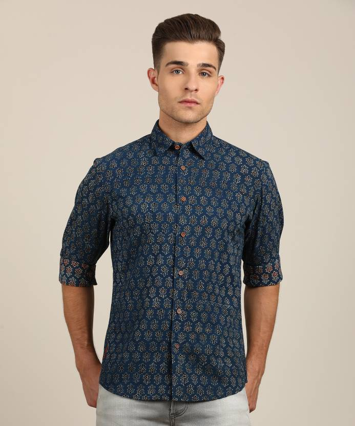 5e6a3c1cf99 Pepe Jeans Men s Floral Print Casual Dark Blue Shirt - Buy BLUE Pepe Jeans  Men s Floral Print Casual Dark Blue Shirt Online at Best Prices in India ...