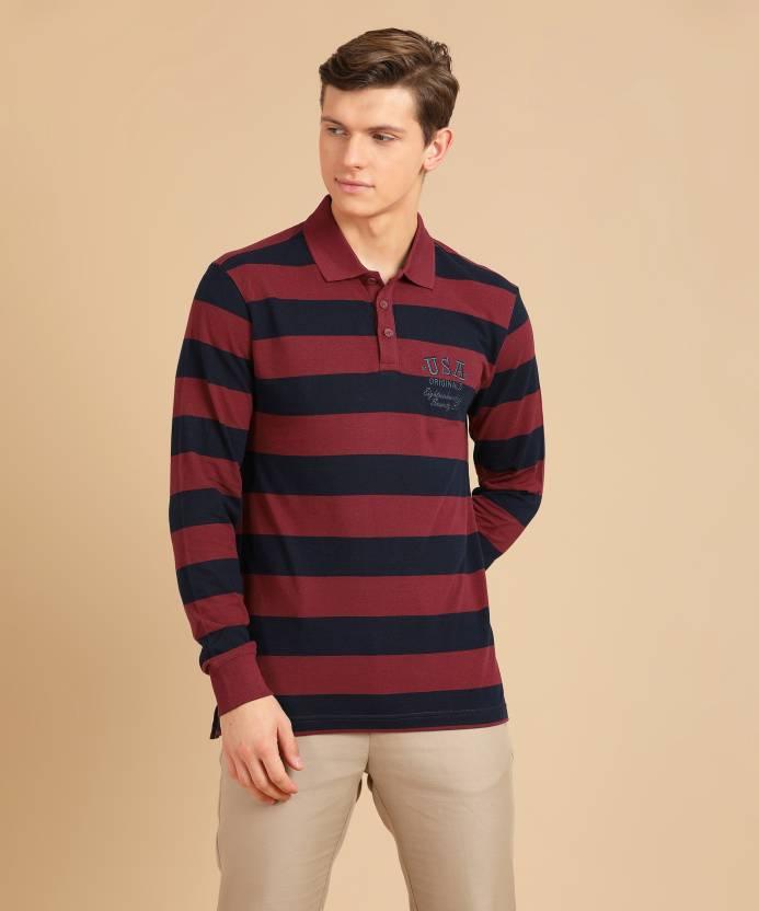 e123bfaf Jockey Striped Men's Polo Neck Red, Dark Blue T-Shirt - Buy Deep Red-Navy Jockey  Striped Men's Polo Neck Red, Dark Blue T-Shirt Online at Best Prices in ...