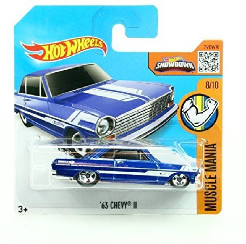6587d494f91 Generic '63 CHEVY II (128/250) * Short Card Package * Hot Wheels 2016 HW  MUSCLE MANIA SERIES (08/10) 1:64 Scale Die-Cast Vehicle (Multicolor)