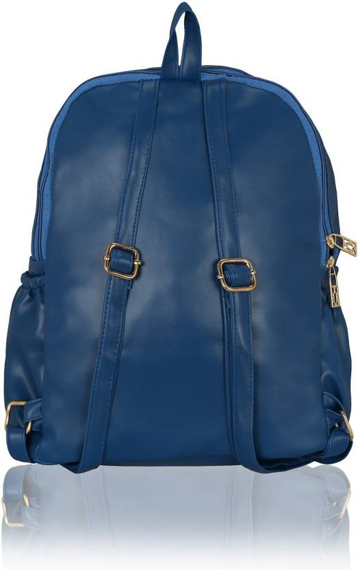 e6cb2c8a38 Kleio Stylish Trendy Soft PU Leather Double Compartment Travel   College  10.6 L Backpack (Blue)