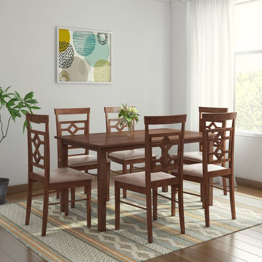 HomeTown Eva Solid Wood 6 Seater Dining Set   Finish Color   WENGE AND BROWN