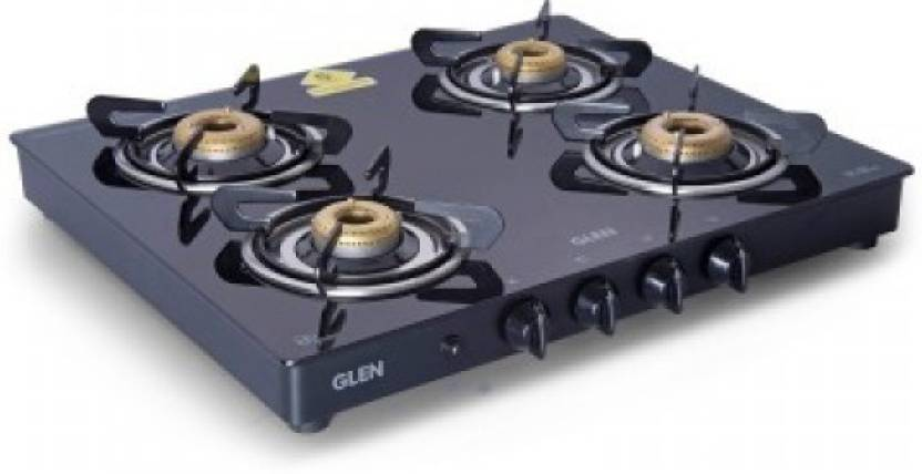 83a364fe899 GLEN 4 Burners 1041 GT Forged Brass Burner Black Auto Ignition Cooktop  Stainless Steel Automatic Gas Stove (4 Burners)