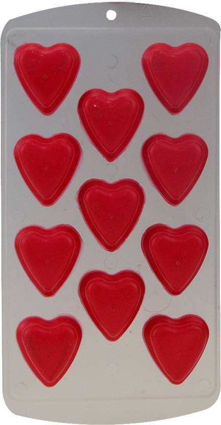 AVMART Silicon Heart Shaped POP Out Mould for Jelly, ICE, Chocolate Multi color (11 Holes Mould) Red Plastic Ice Cube Tray (Pack of 1)