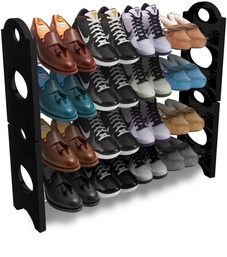 Frazzer Plastic Collapsible Shoe Stand Black, White, 4 Shelves