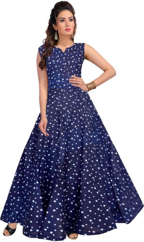 293ea3c45fc3 JWF Women's Maxi Blue Dress - Buy JWF Women's Maxi Blue Dress Online at  Best Prices in India | Flipkart.com