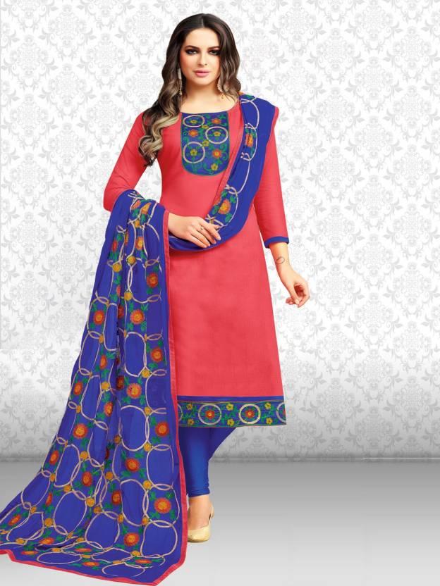 Divastri Cotton Solid, Embroidered Salwar Suit Dupatta Material Unstitched