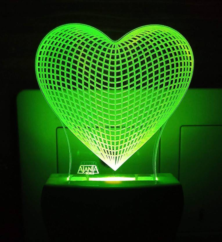 Ajanta Love Heart Code:2089 3d Night Lamp (20 cm, Multicolor)