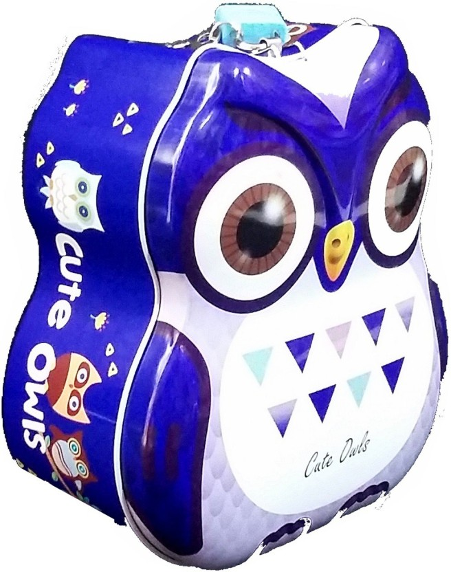 TECHNOCHITRA OWL METAL PIGGY BANK WITH LOCK AND KEYS FOR KIDS Coin Bank