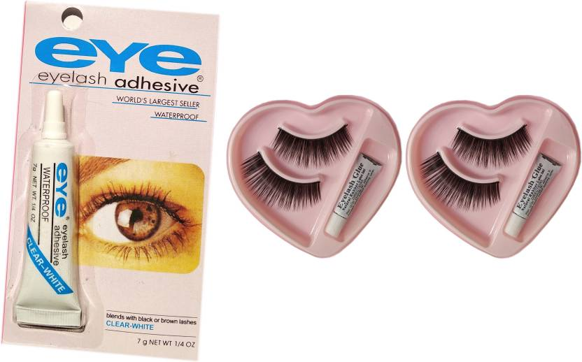 01818c43808 Eye Lashes Glue- ClearWhite & Easy to Remove - Low Cost- Free 2 Pair False  Thick Eyelashes Natural Glue (Set of 3)