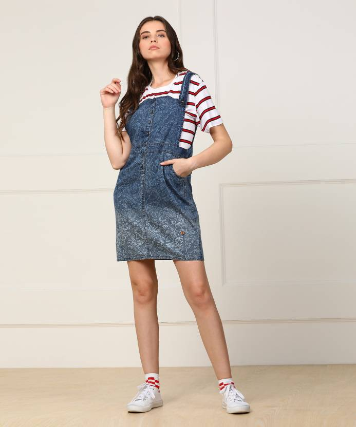 e3da72b65421 Pepe Jeans Women's Pinafore Blue Dress - Buy BLUE Pepe Jeans Women's  Pinafore Blue Dress Online at Best Prices in India | Flipkart.com
