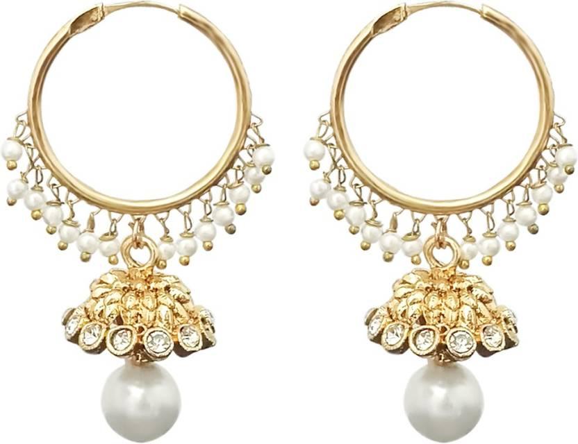 8281e7443 Flipkart.com - Buy JewelMaze White Beads Gold Plated Earrings-1313040 Alloy  Hoop Earring Online at Best Prices in India