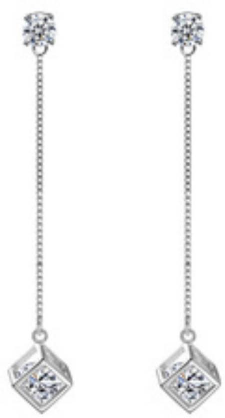 28ccd20f76643 Flipkart.com - Buy MYKI Fancy Cube Zircon Long Earrings For Women ...