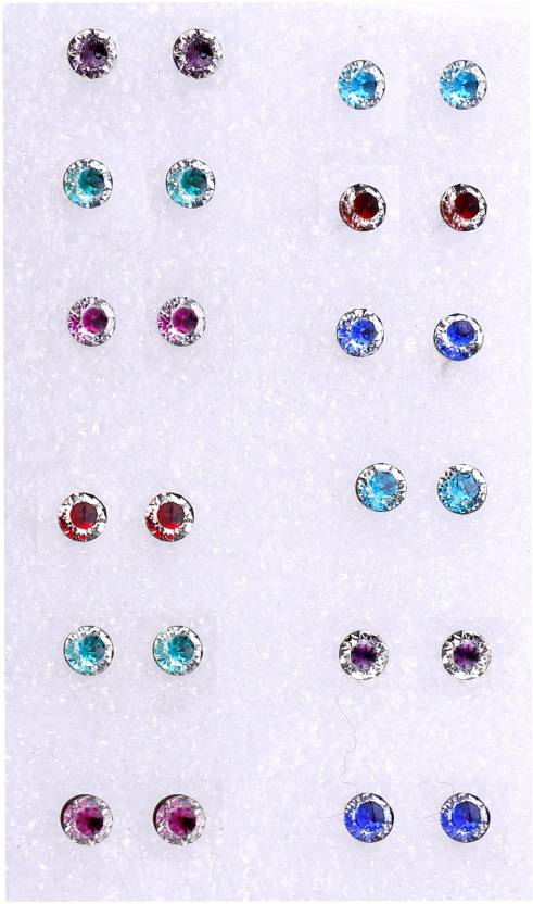 1756a0140 Flipkart.com - Buy HONBON Multi-Color Round Stone Medium Size Stud Earrings  With Plastic Back for Girls and Women (Combo of 12 Pairs) Plastic Stud  Earring ...