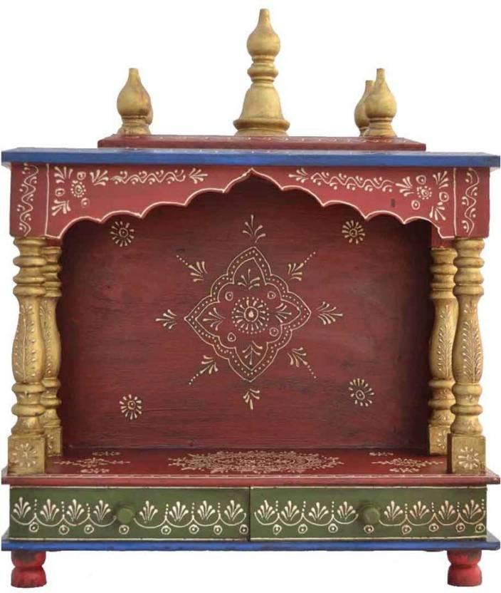 d23276af8 Marusthalee Rajasthani Red Wooden Pooja Mandir Wooden Home Temple (Height:  56 cm)
