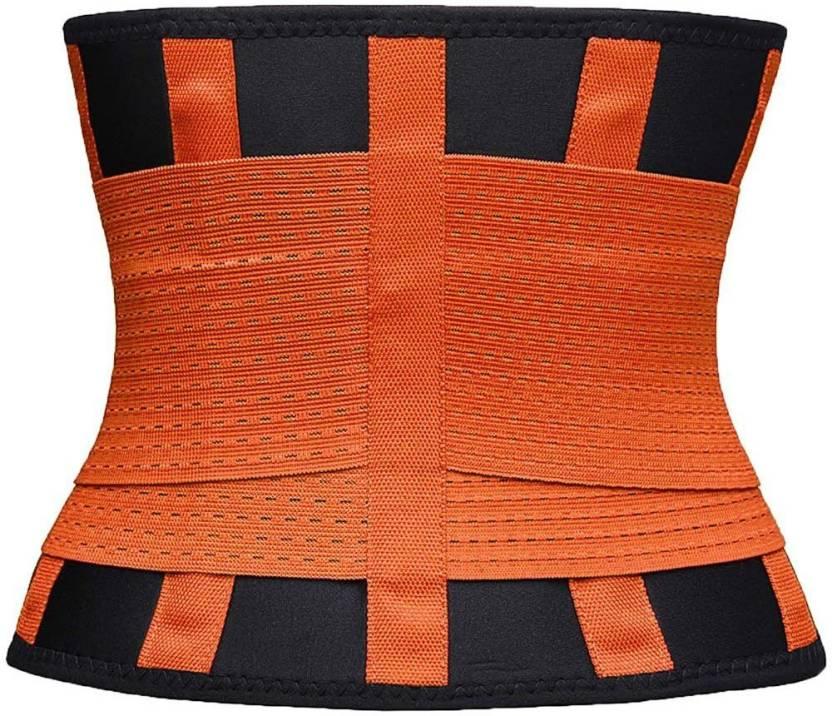 0e391e5c9a GOCART Waist Trimmer Belt Back Support Adjustable Abdominal Elastic Waist Trainer  Hourglass Body Shapewear In (L - Size ) Slimming Belt (Orange