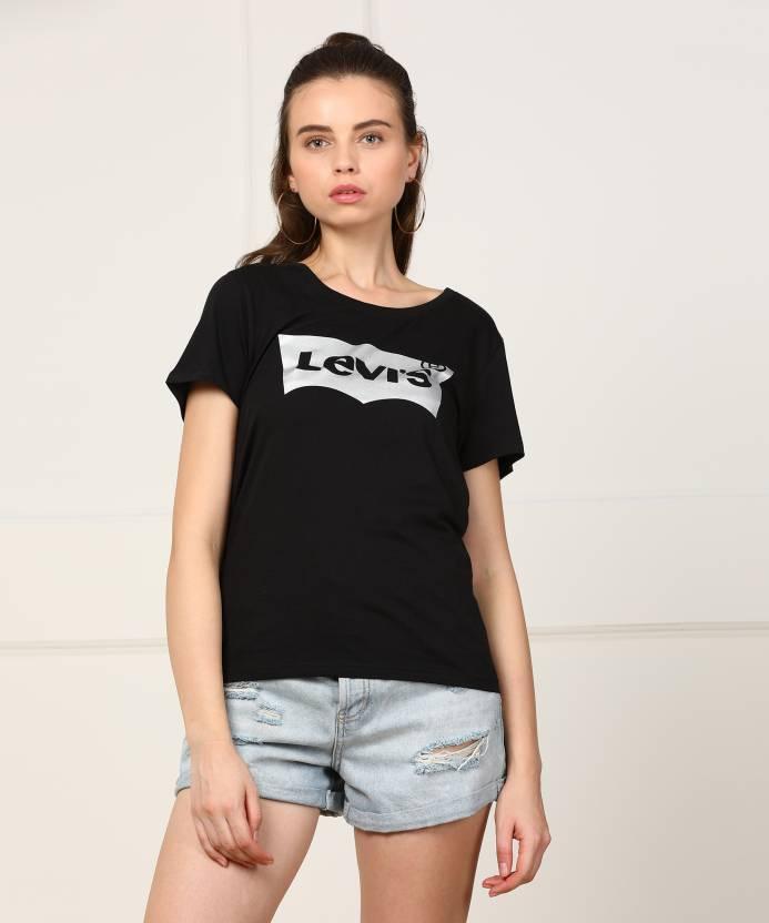 79eeb33cfa06 Levi's Printed Women's Round Neck Black T-Shirt - Buy Black Levi's Printed  Women's Round Neck Black T-Shirt Online at Best Prices in India    Flipkart.com