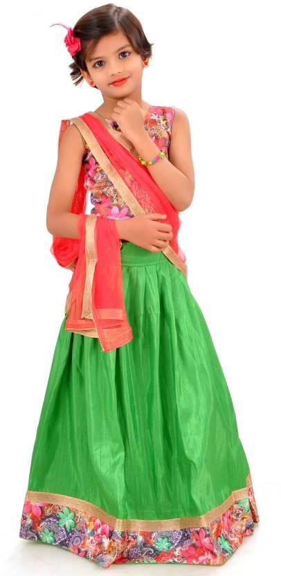 7fb7729265 Arrow Fashion Girl's Lehenga Choli Ethnic Wear Printed Lehenga, Choli and  Dupatta Set (Green, Pack of 1)