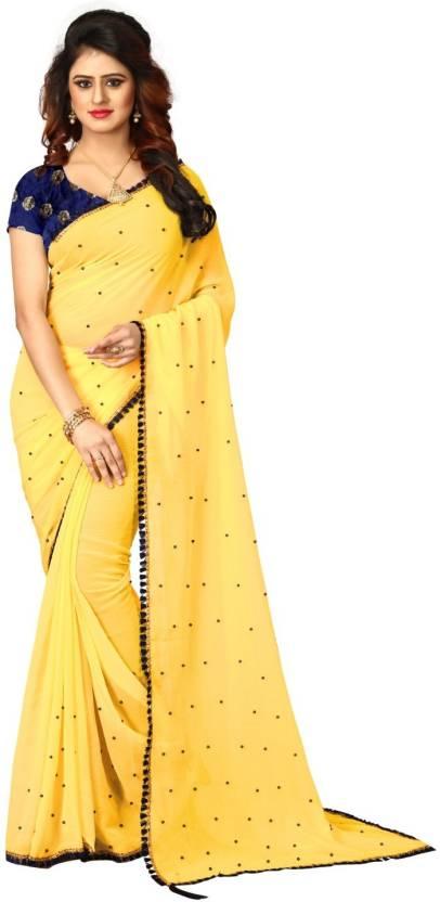 179f256ff Buy Shoppershopee Applique Venkatagiri Pure Chiffon Yellow Sarees ...