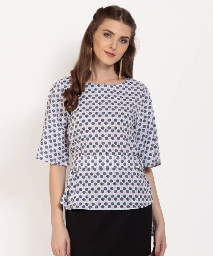 ec1595deff11 Marie Claire Casual Half Sleeve Printed Women s White