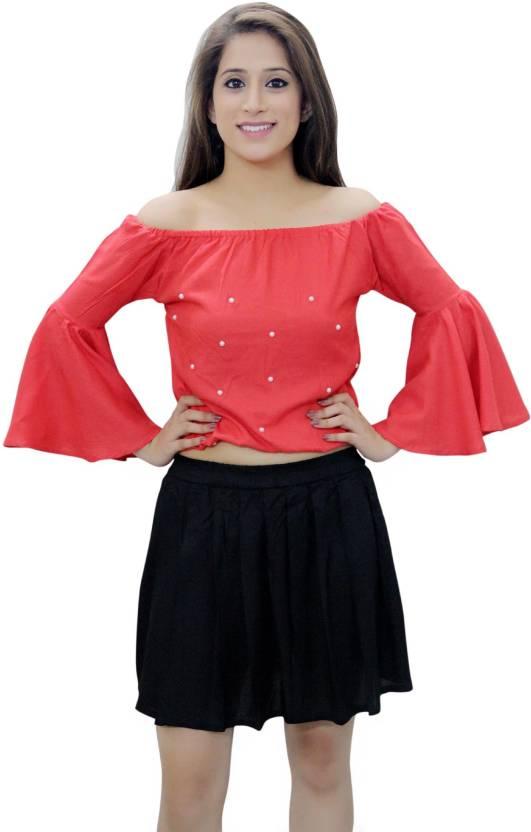 8b70c9547af8a CrazeVilla Casual Bell Sleeve Solid Women s Red Top - Buy CrazeVilla Casual Bell  Sleeve Solid Women s Red Top Online at Best Prices in India