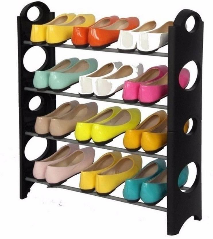 8d5b2ca6f2 Ketsaal Portable, Foldable, Detachable, 4 Shelves Plastic Collapsible Shoe  Stand