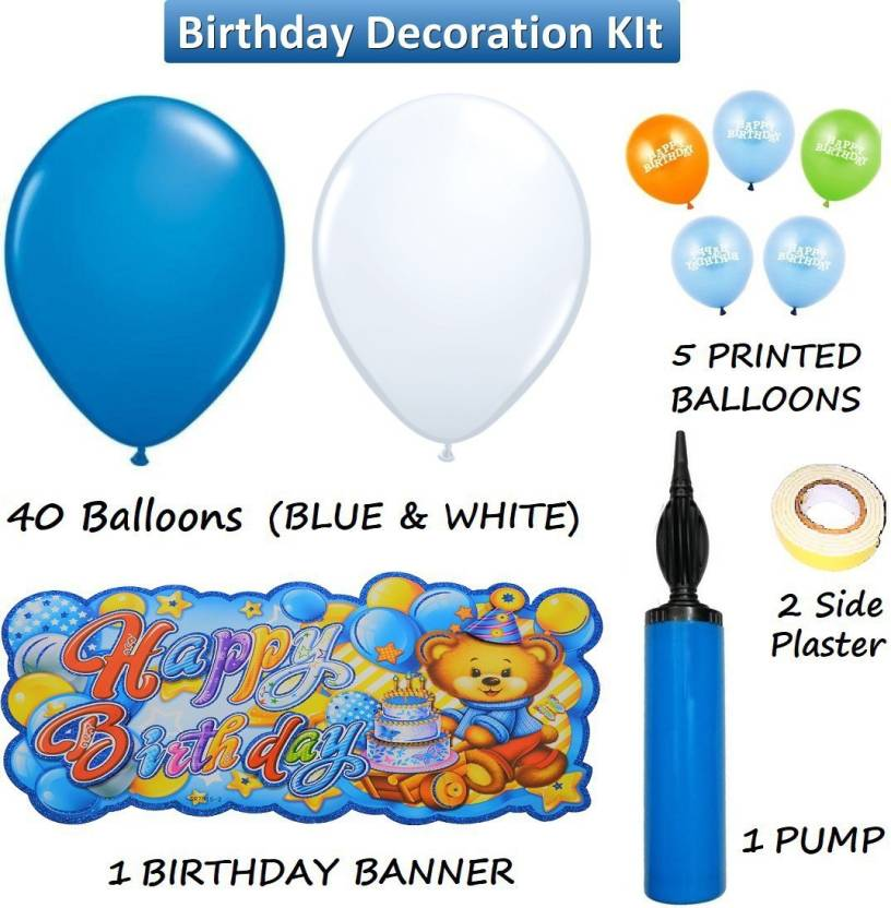 Easypartystore Birthday Decoration Kit For Baby Boys With Happy Banner And Balloon Pump Combo 48 Items Set Of