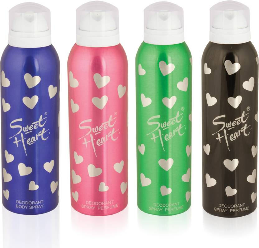 Sweet Heart Black ,Green ,Pink and Blue deodorant Spray Body Spray - For  Men & Women