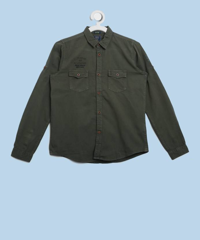 6c87592db5 Indian Terrain Boys Solid Casual Green Shirt - Buy Green Indian Terrain  Boys Solid Casual Green Shirt Online at Best Prices in India | Flipkart.com