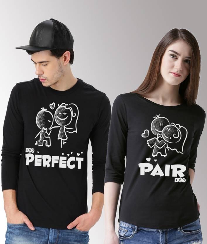36d733362d99 DUO COUPLE Self Design Men & Women Round Neck Black T-Shirt - Buy ...